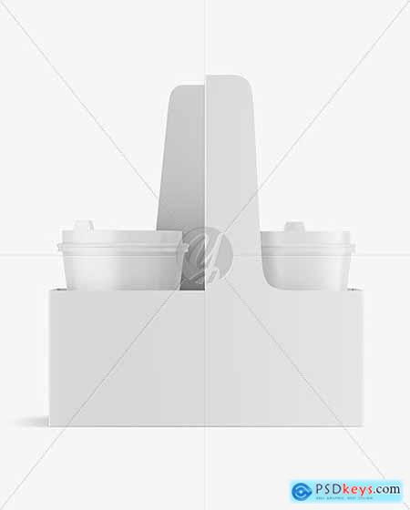 Matte Coffee Cups in Paper Holder Mockup 82055