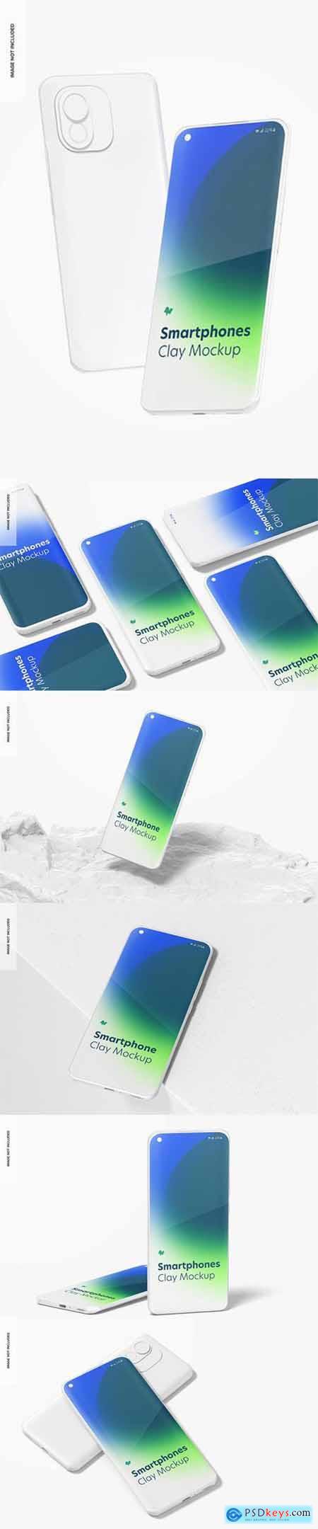 Clay smartphones mockup