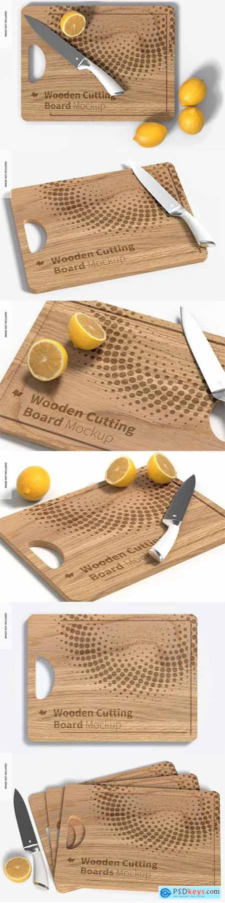 Wooden cutting board with lemons mockup