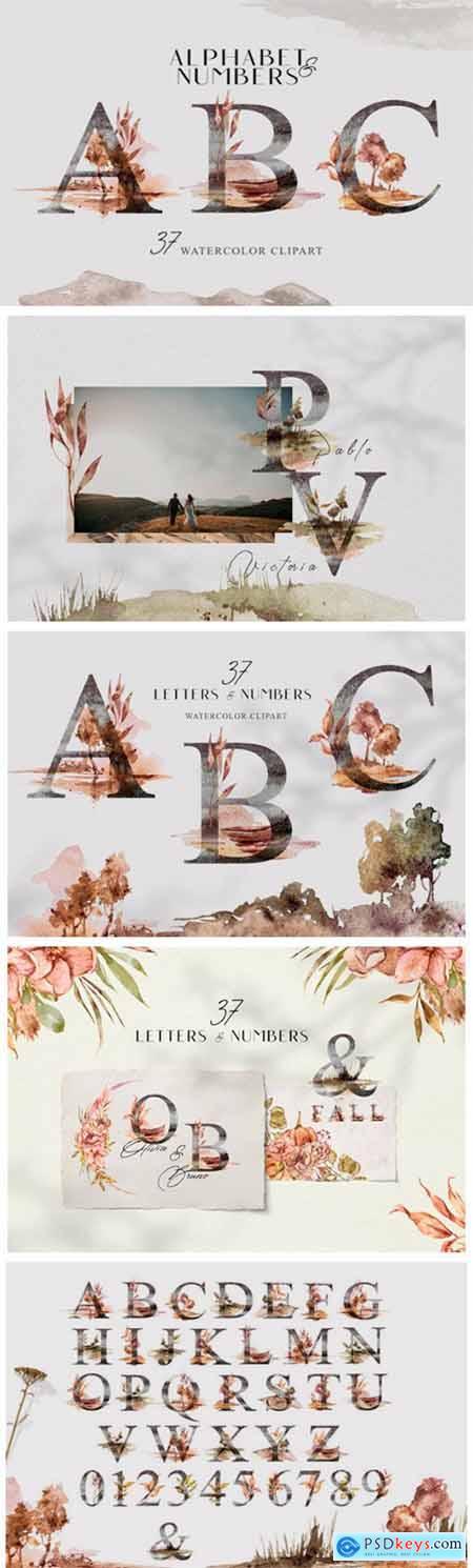Watercolor Floral Alphabet Clipart 11643001