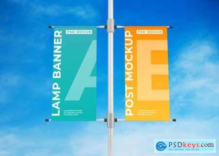 Hanging lamp banner advertising poster mockup