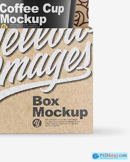 Glossy Coffee Cups in Kraft Paper Holder Mockup 82747