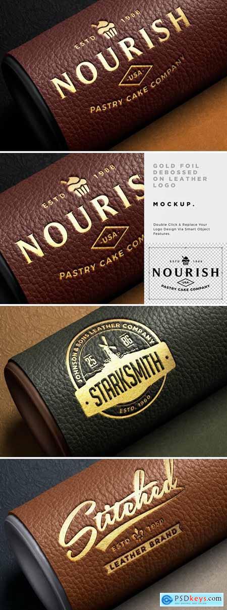 Gold Foil Leather Deboss Logo Mockup