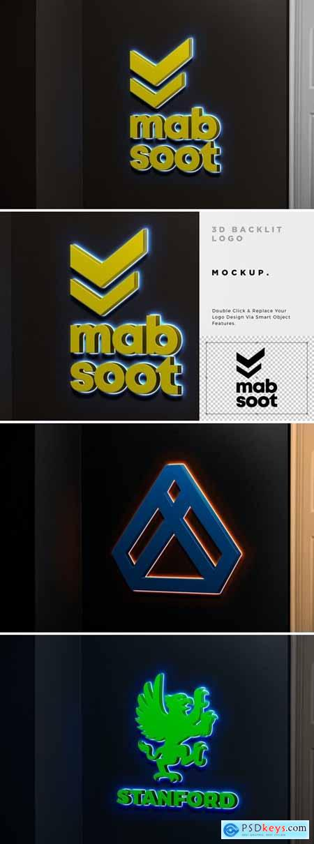 3D Backlit Logo Mockup