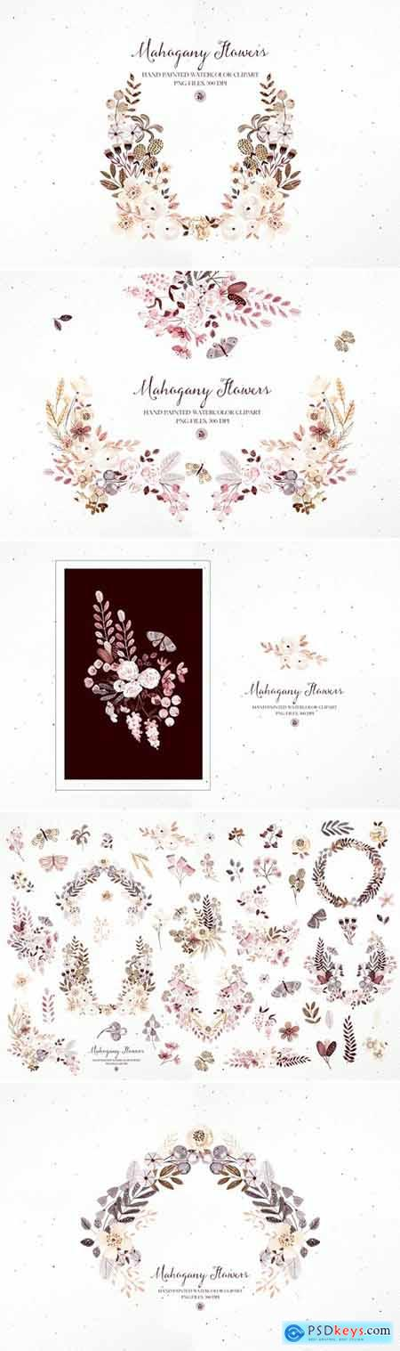 Mahogany Flowers - watercolor clipart and frames