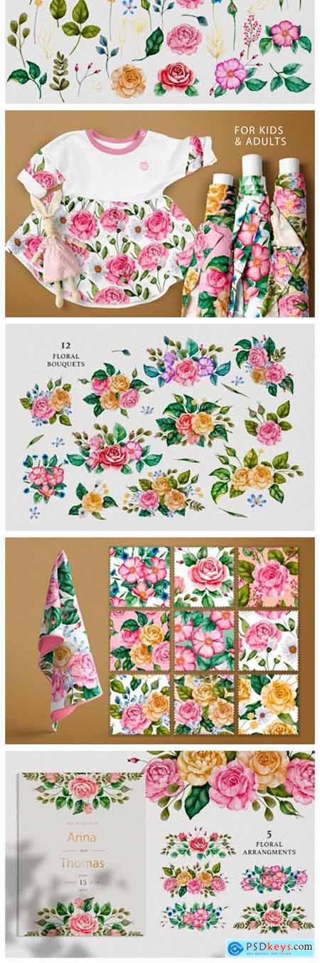 Watercolor Flowers & Golden Alphabet 11531421
