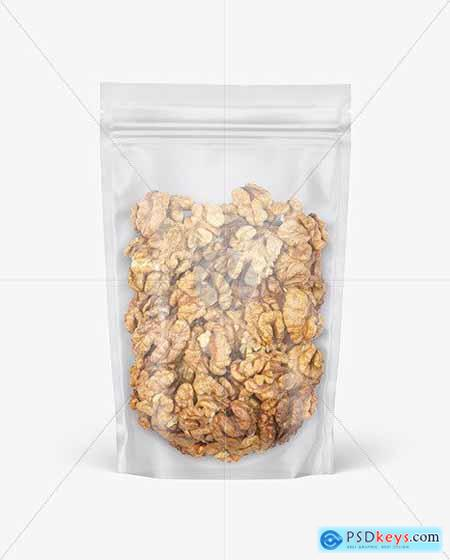 Frosted Plastic Pouch w- Walnuts Mockup 82559
