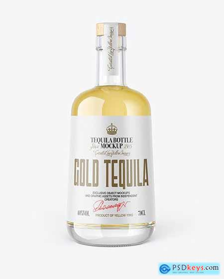 Gold Tequila Bottle with Wooden Cap Mockup 82695