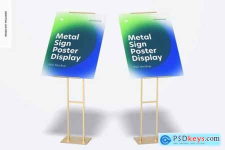 Metal sign poster floor display mockup