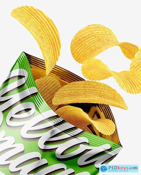 Opened Metallic Bag With Riffled Potato Chips Mockup 82733