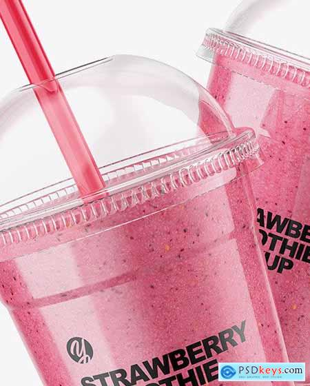 Two Strawberry Smoothie Cups Mockup 83225