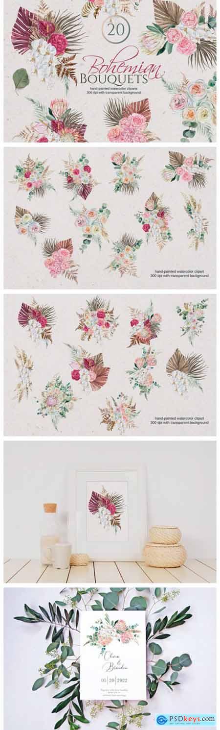 Watercolor Boho Bouquet 11236227