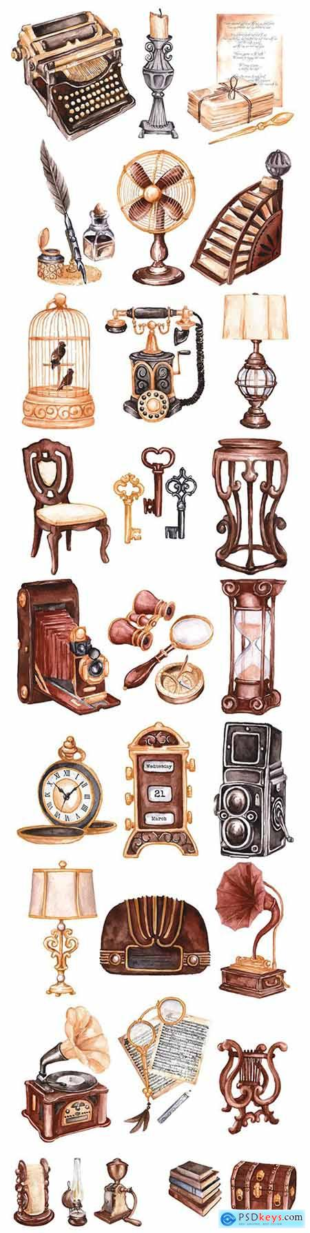 Watercolor antique market design collection illustration