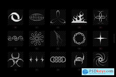 Chrome & vector abstract shapes pack 5964864