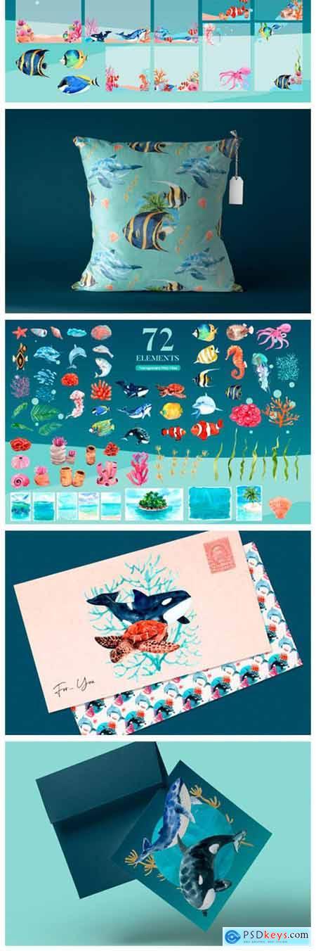 Unseen Oceans & Sealife Watercolor Set 12143280
