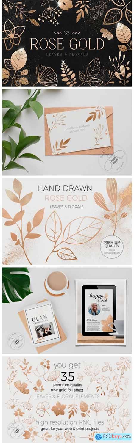 Rose Gold Leaves Florals Foil Elements 7226542