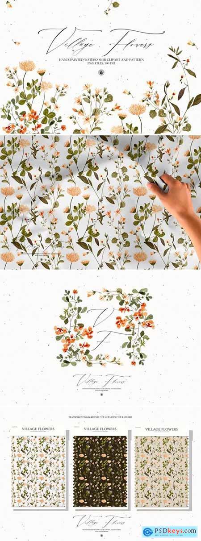 Village Flowers - watercolor clipart