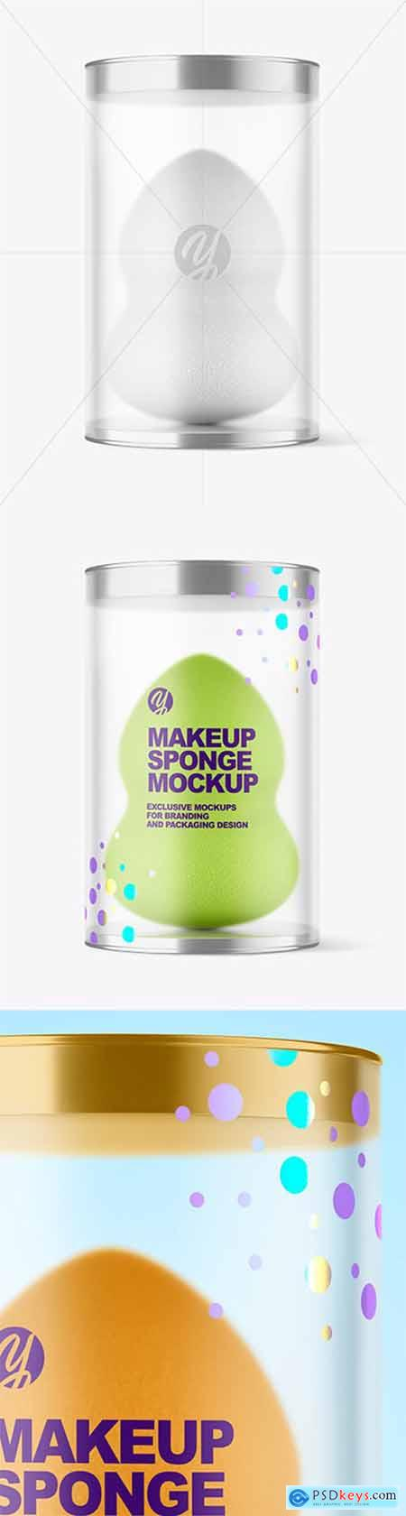 Matte Plastic Tube w- Makeup Sponge Mockup 79858