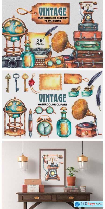 Vintage Watercolor Clipart 11984072