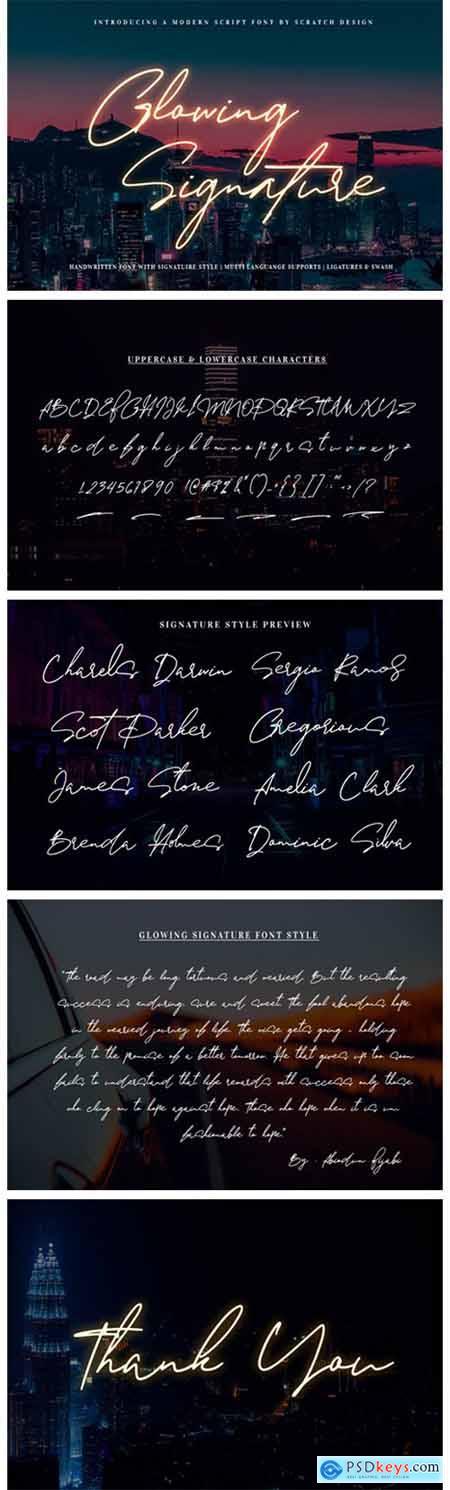 Glowing Signature Font