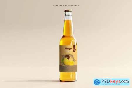 Glass beverage bottle mockup