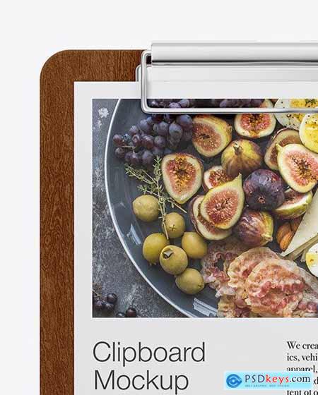 Wooden Clipboard W- A4 Paper Mockup 84773
