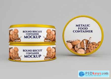 Rounded cookie biscuit can mockup