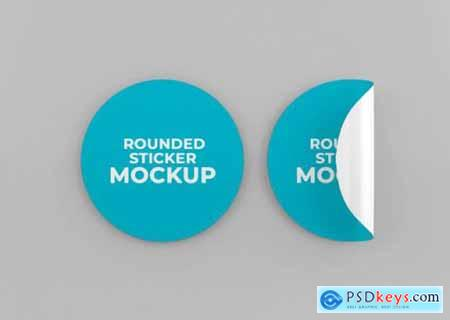 Rounded sticker mockup