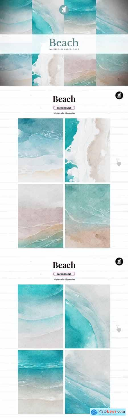 8 Beach watercolor background