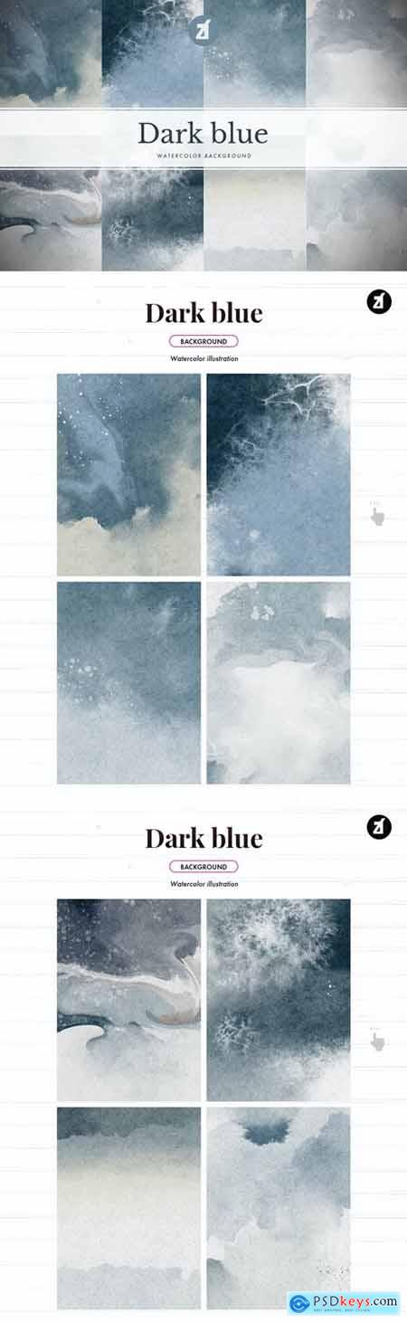 8 Dark blue abstract watercolor background