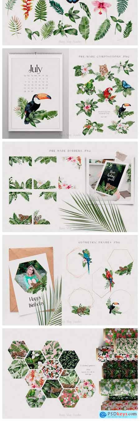 Modern Watercolor Rainforest Collection 12967096