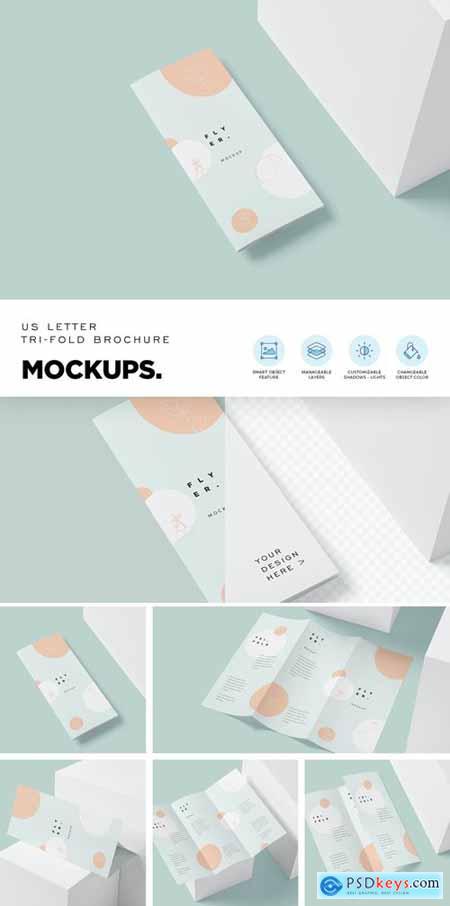 US Letter Trifold Brochure Mockups