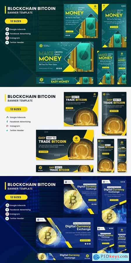 Cryptocurrency Bitcoin Banner Set Template