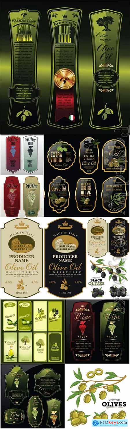 Luxury labels of olives and wine in vector