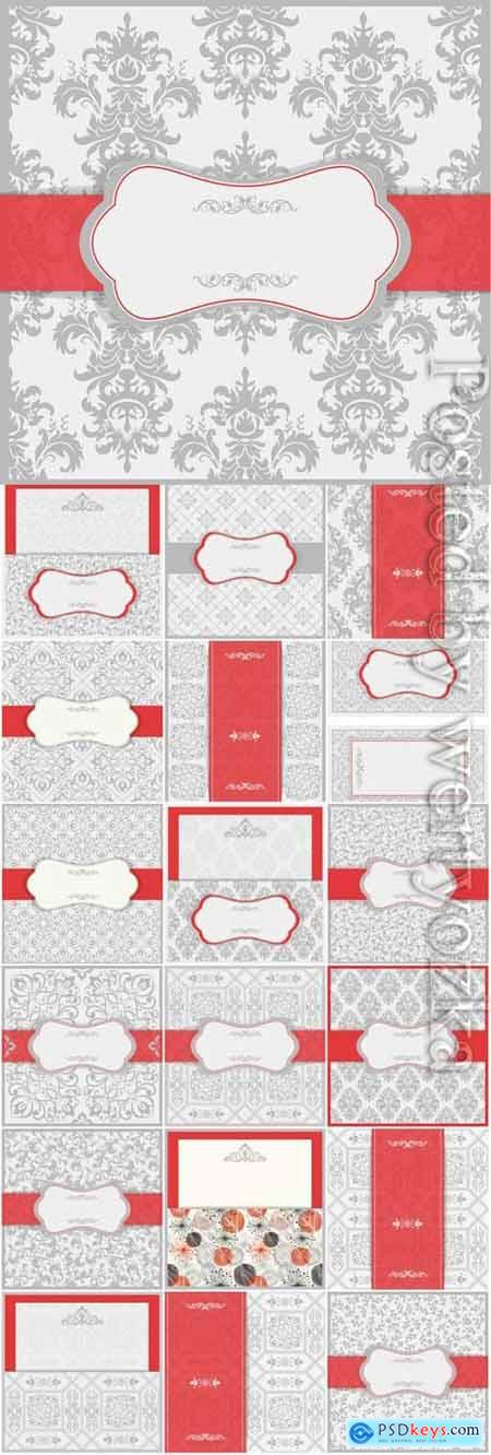 Vintage wedding invitation cards with gray patterns in vector