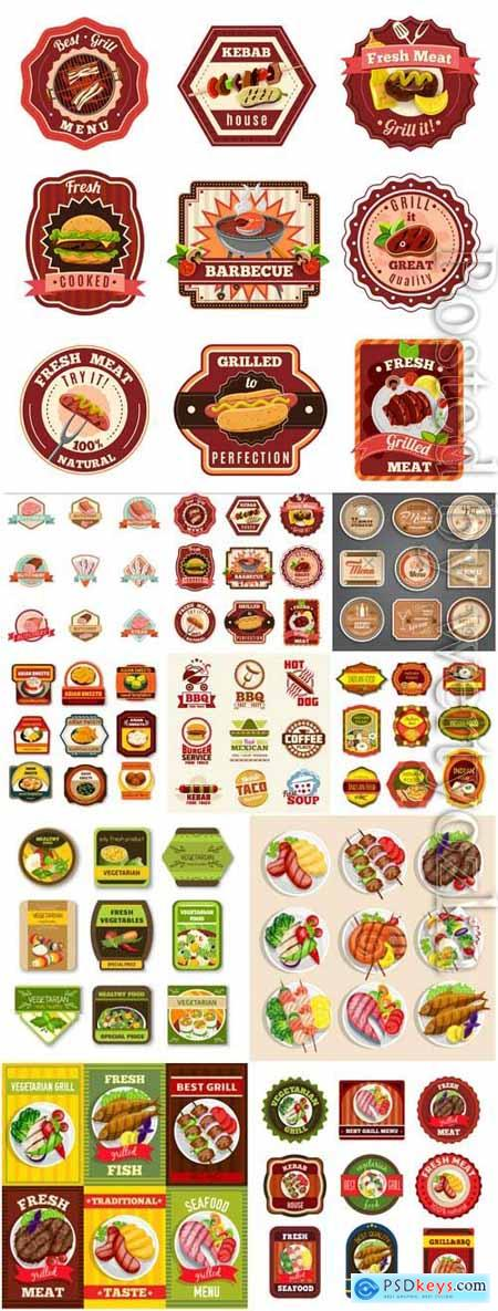 Retro style grocery labels in vector
