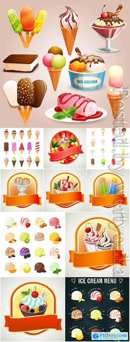Ice cream and desserts labels in vector