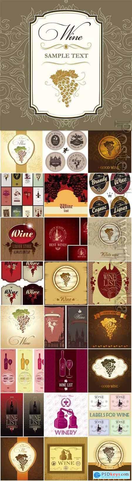 Retro wine labels for design in vector