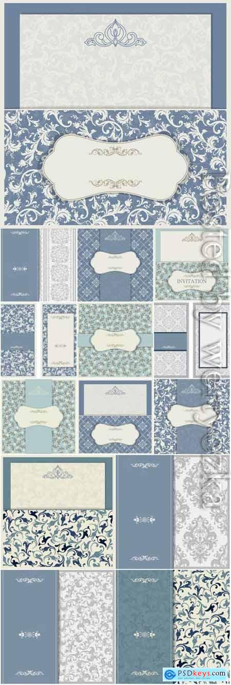 Wedding invitation cards with blue patterns in vector