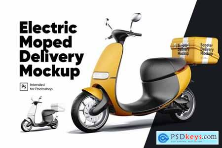 Electric Moped Delivery Mockup