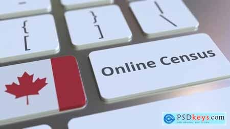 Online Census Text and Flag of Canada on the Keyboard 32696464