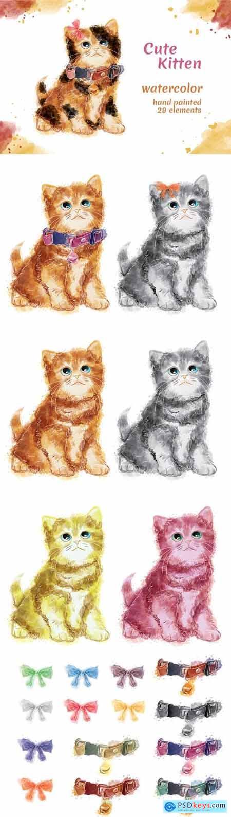 Kitten - 29 Watercolor for Adobe Illustrator