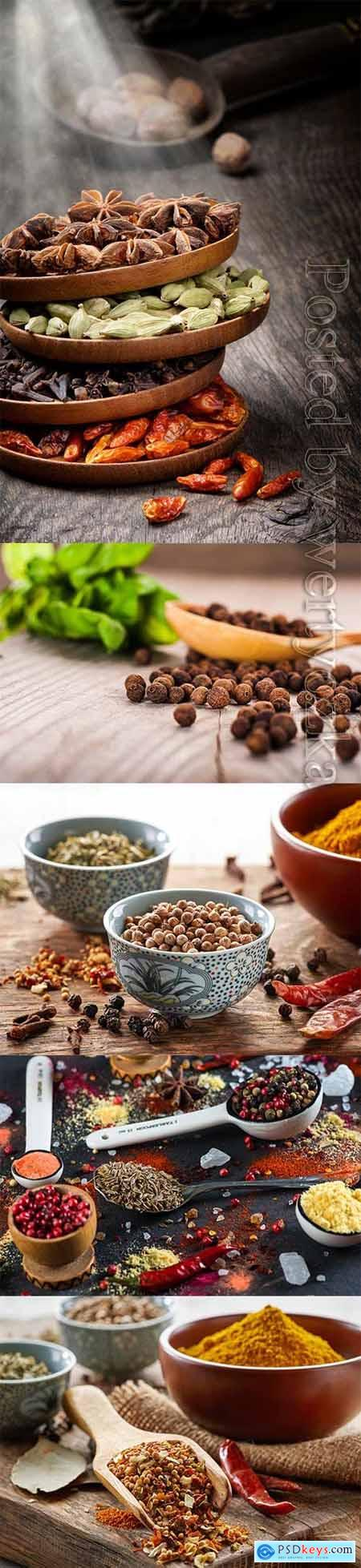 Various spices in various dishes stock photo
