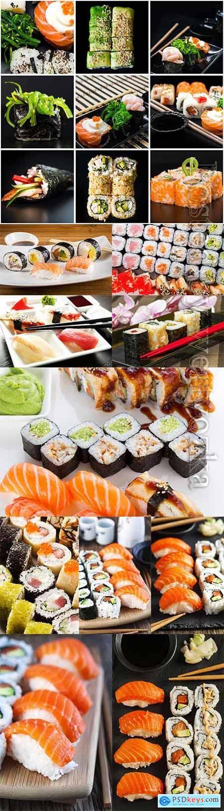 Appetizing sushi sets stock photo