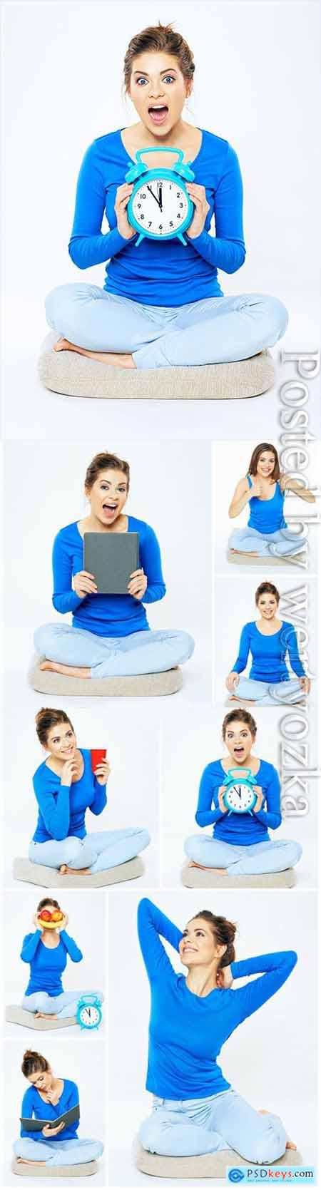 Cheerful young woman in different situations stock photo