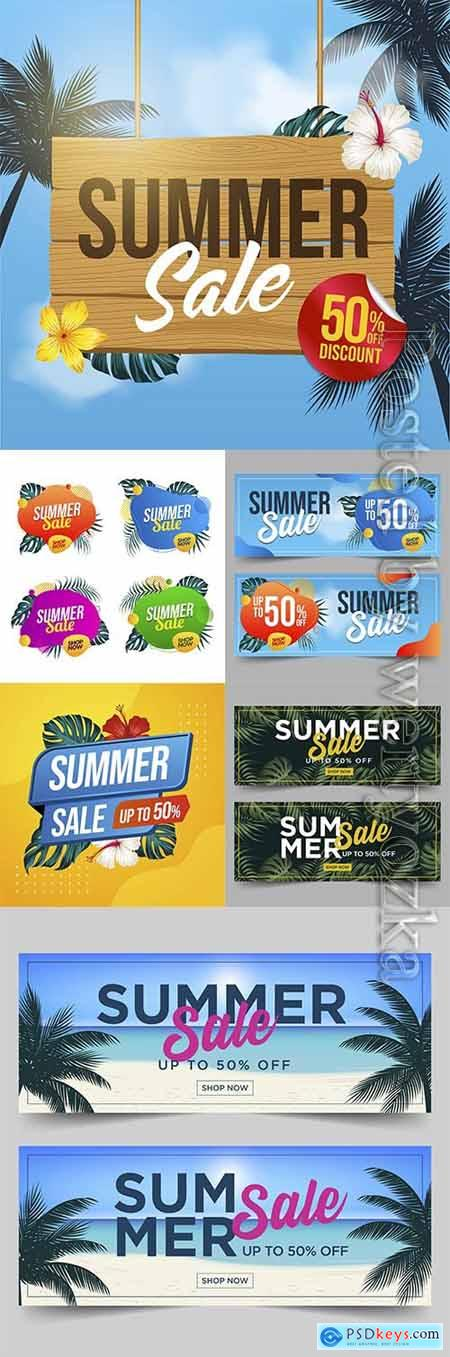 Summer sale vector banner with leaves