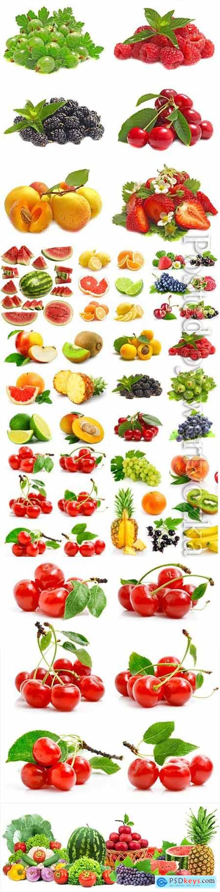 Tropical fruits, berries stock photo