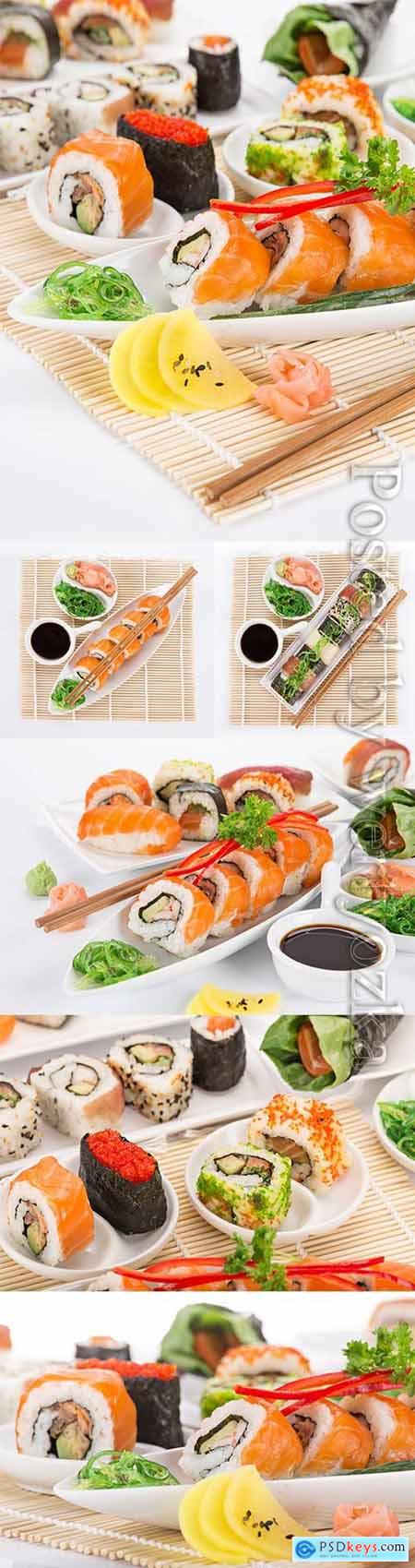 Sushi with wasabi and sauce, sets stock photo