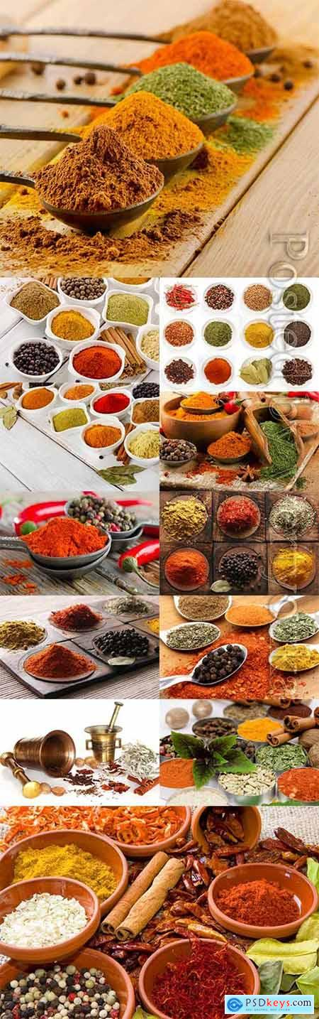 Spices in various containers stock photo