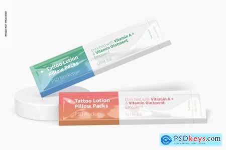 Tattoo lotion pillow packs set mockup